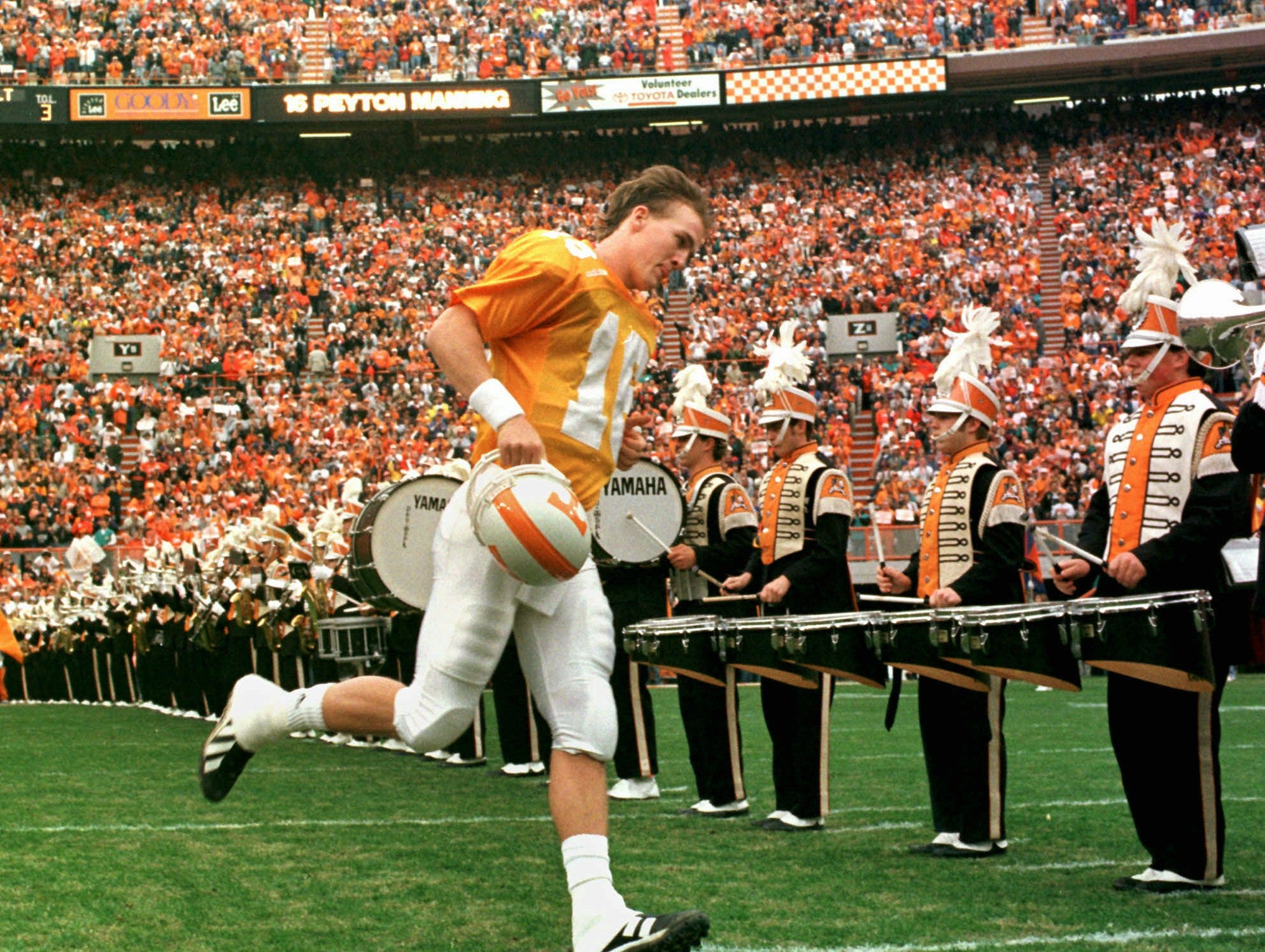 Tennessee quarterback Peyton Manning takes the field for his last home game on Saturday, Nov. 29, 1997 in Knoxville, Tenn. Tennessee defeated Vanderbilt 17-10.