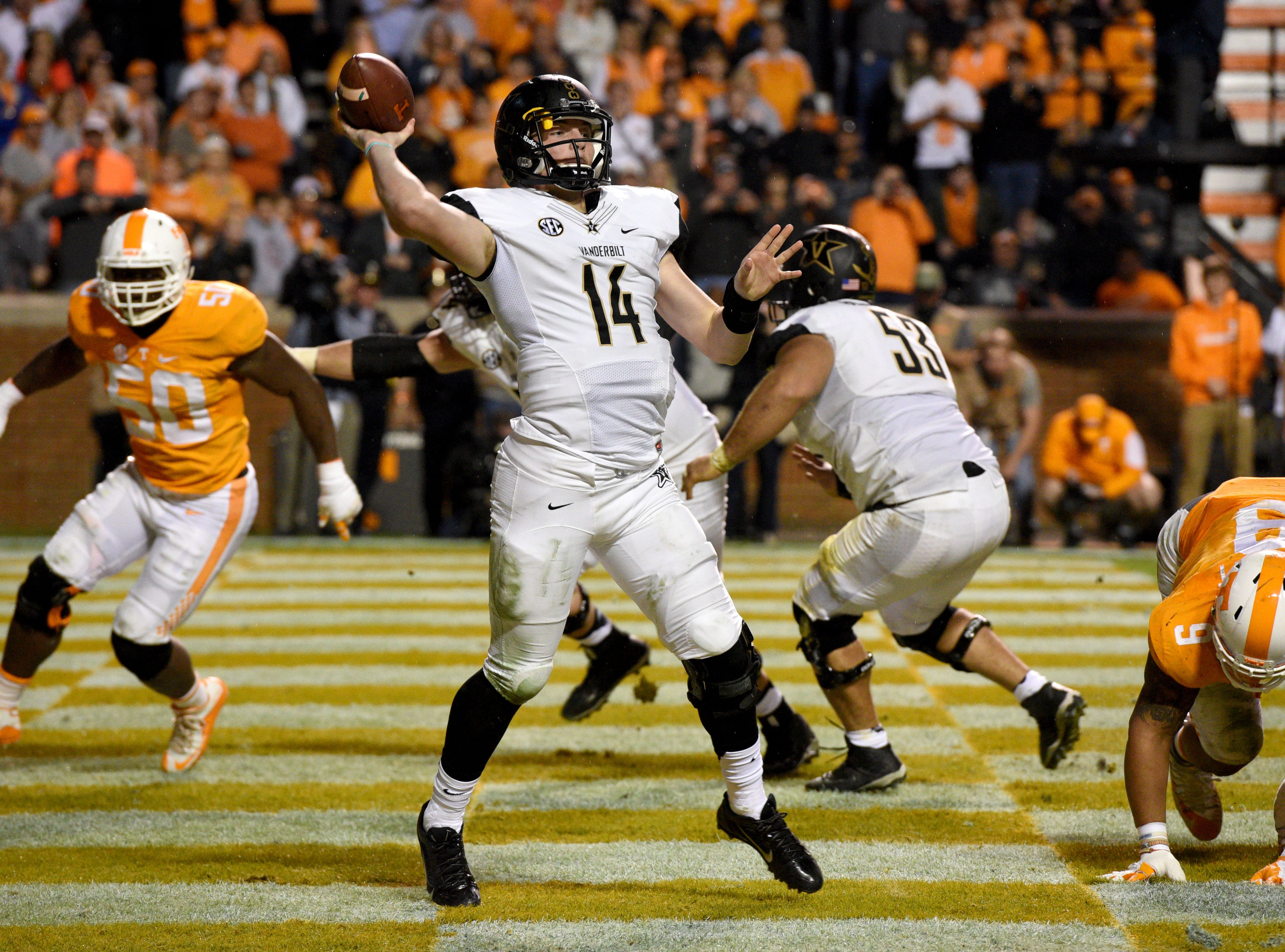 Vanderbilt quarterback Kyle Shurmur (14) passes the ball against Tennessee during the second half at Neyland Stadium in Knoxville, Tenn. on Saturday, Nov. 28, 2015.