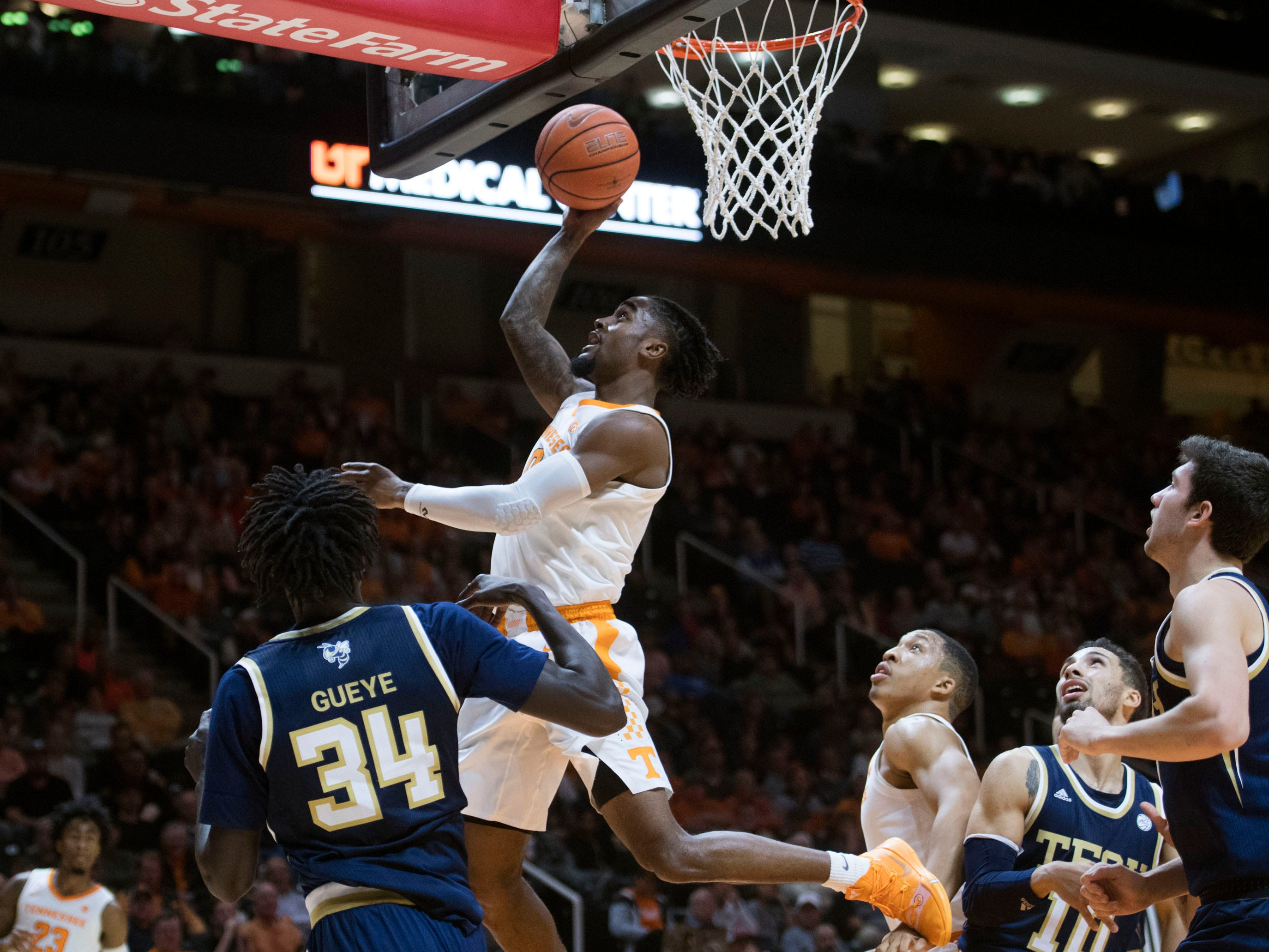 Tennessee's Jordan Bone (0) scores against Georgia Tech. Tennessee defeated Georgia Tech, 66-53, at Thompson-Boling Arena on Tuesday, November 13, 2018.
