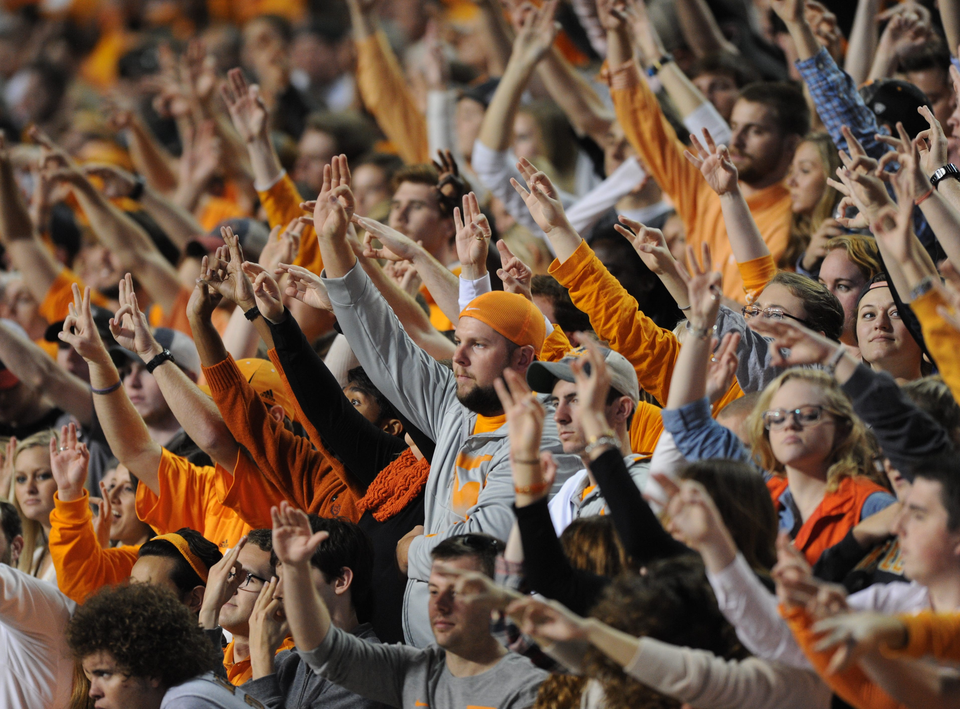 Tennessee fans cheer on the team against Vanderbilt during the second half at Neyland Stadium in Knoxville, Tenn. on Saturday, Nov. 28, 2015.