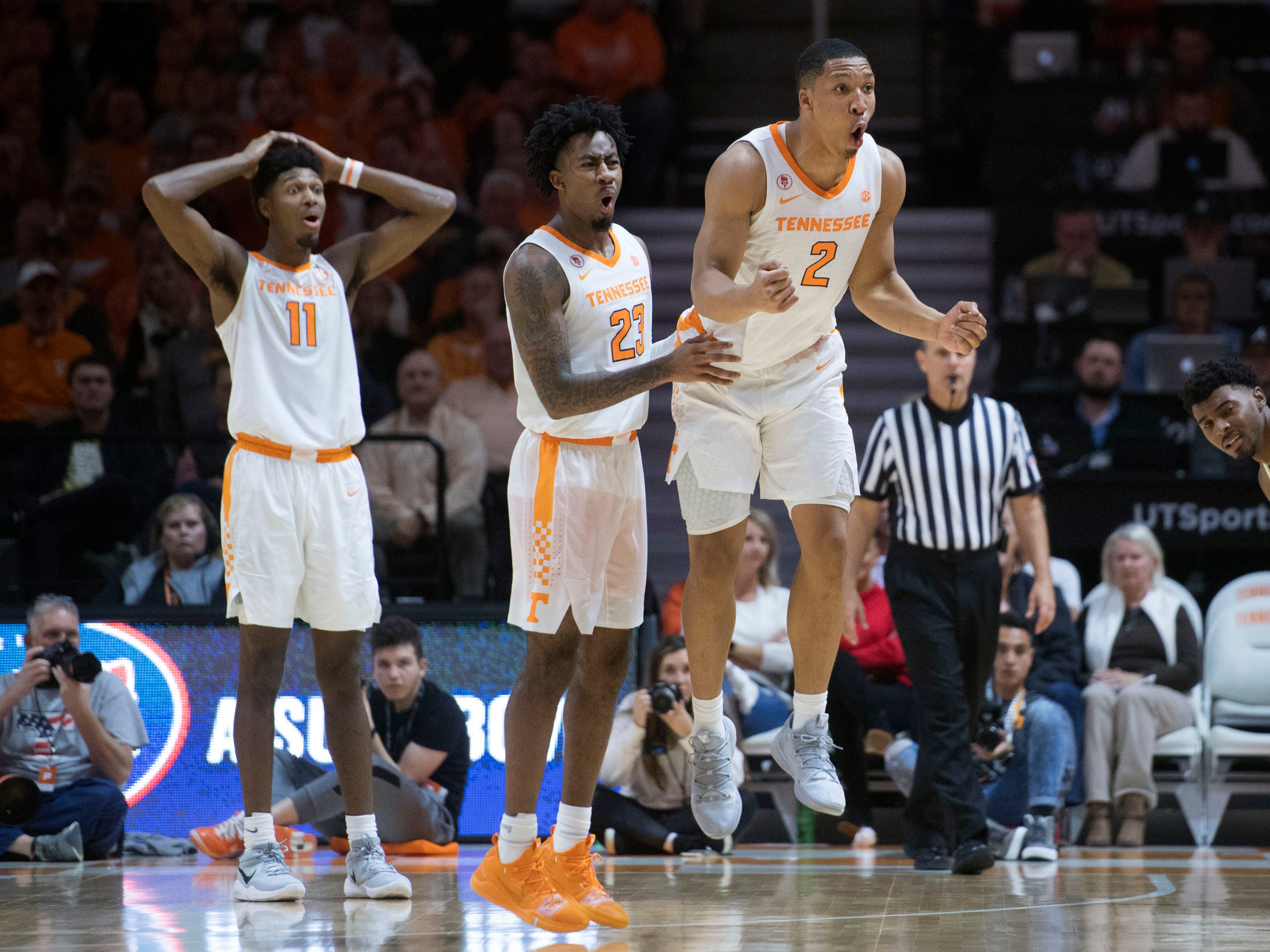 From right, Tennessee's Grant Williams (2), Jordan Bowden (23), and Kyle Alexander (11) react to a foul call against Williams during the game against Georgia Tech on Wednesday, November 14, 2018.