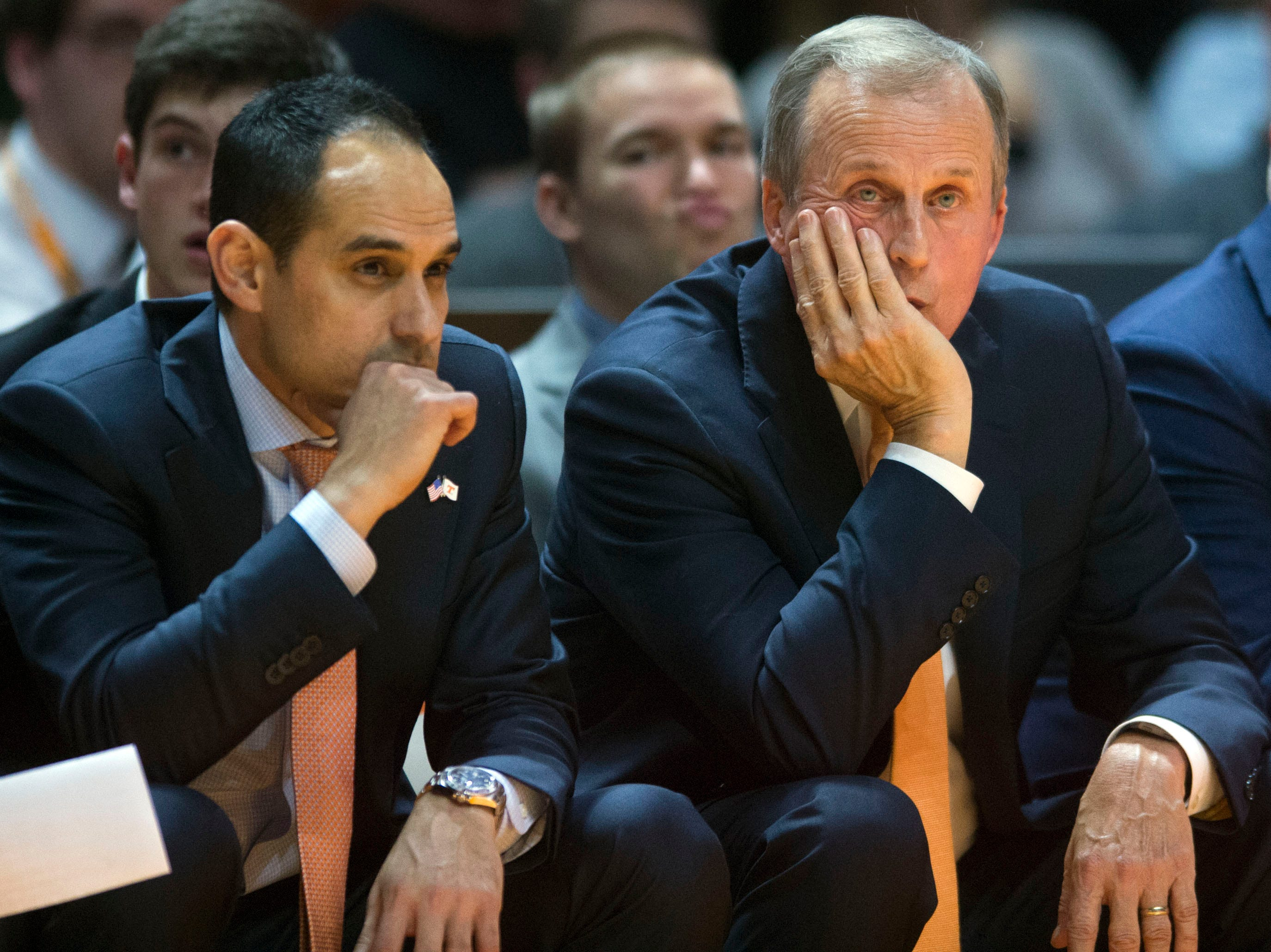 Tennessee head coach Rick Barnes and assistant coach Michael Schwartz in the final seconds of the game against Georgia Tech on Wednesday, November 14, 2018.