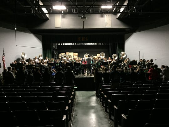 The Lafayette High band practices in the school auditorium on Nov. 13, 2018 as they get ready for the Macy's Thanksgiving Day Parade.