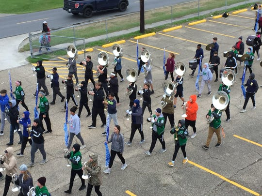 The Lafayette High band practices on Nov. 13, 2018 for its performance in the Macy's Thanksgiving Day parade.