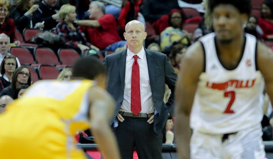 Louisville's coach Chris Mack looks on as his Cards take on Southern at the KFC Yum! Center in Louisville, Ky. Nov. 13, 2018