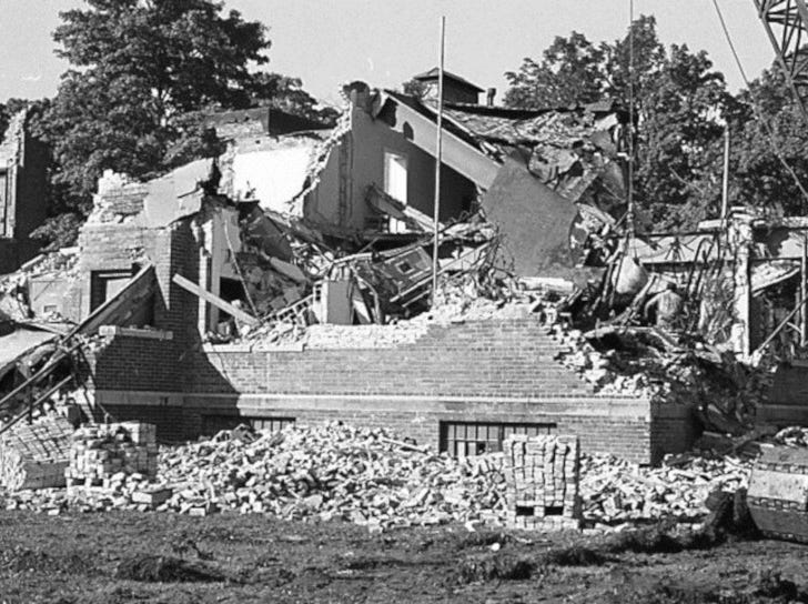 Demolition of many of the buildings took place in October 1973. Established in 1856, the school served as a reform school for boys until it closed in 1972.