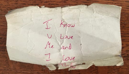 A note Laura's son wrote to her.