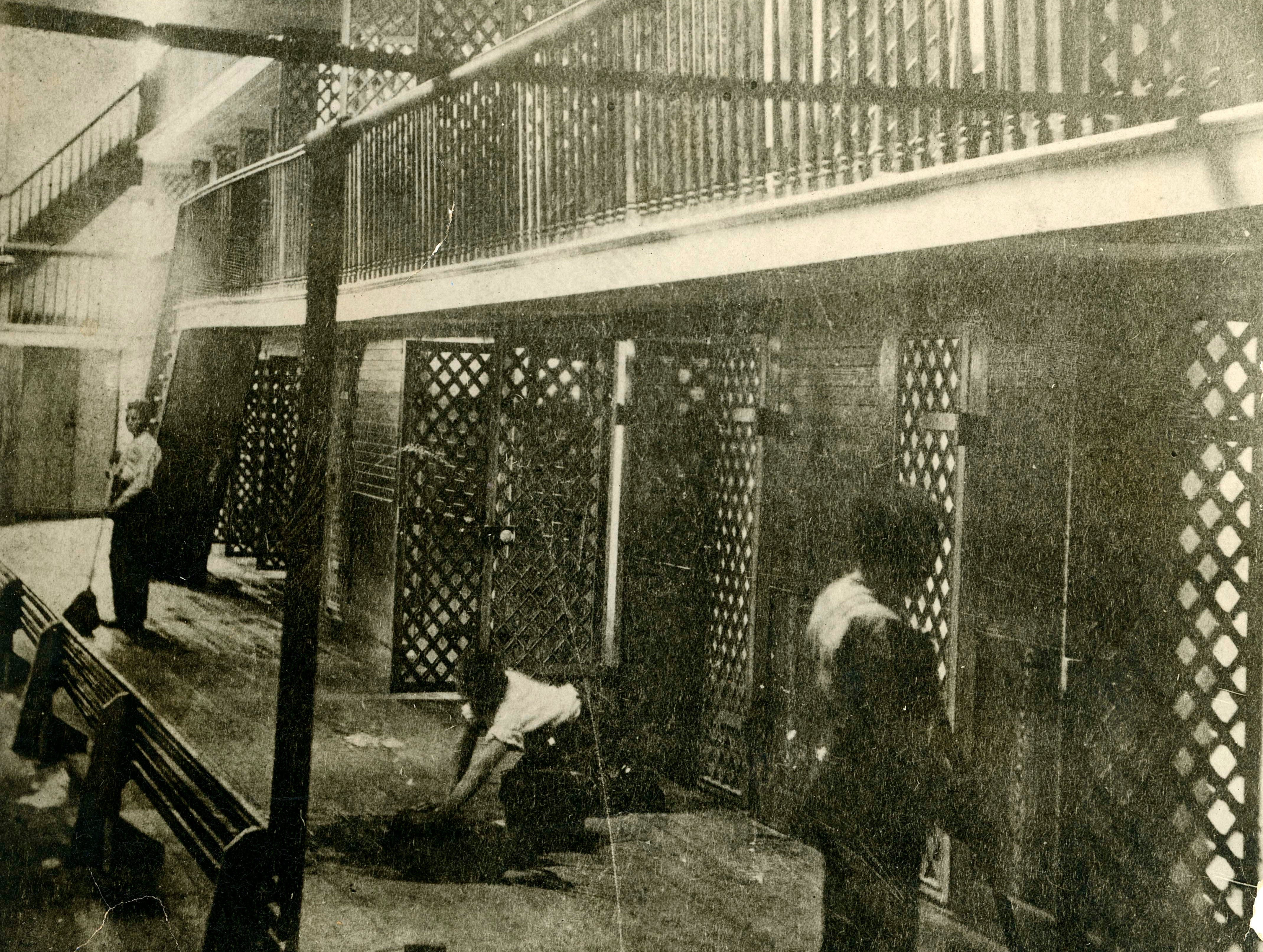 Juvenile offenders were housed in cell blocks in 1860, when this photo was taken at the reform school in Lansing.