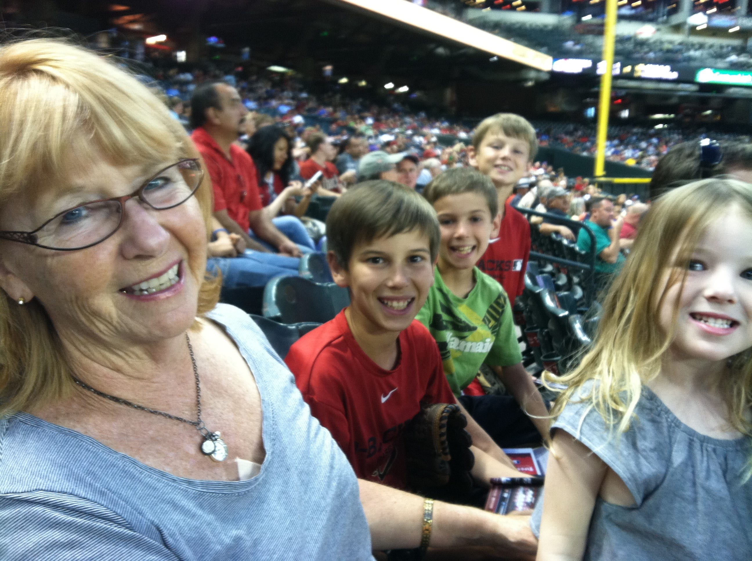 My mom would see my kids several times a week, dropping by to play a game or read a book. She took them to a few Diamondbacks baseball games the last summer we lived in Phoenix.