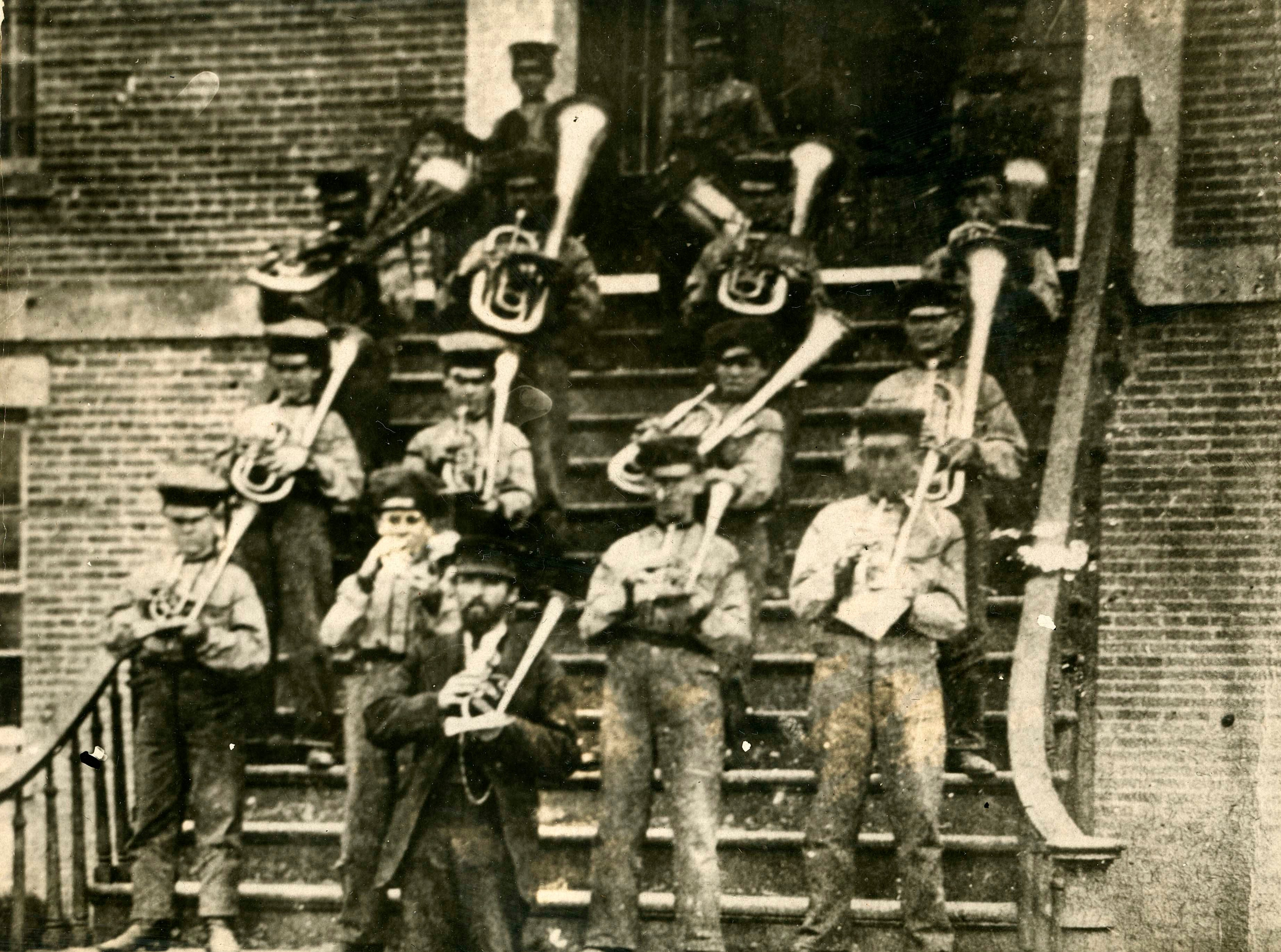 This photo shows the first Reform School Band in 1860.