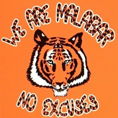 """The shirt design of Malabar's 2018 """"No Excuses,"""" created by Gage Stephens."""