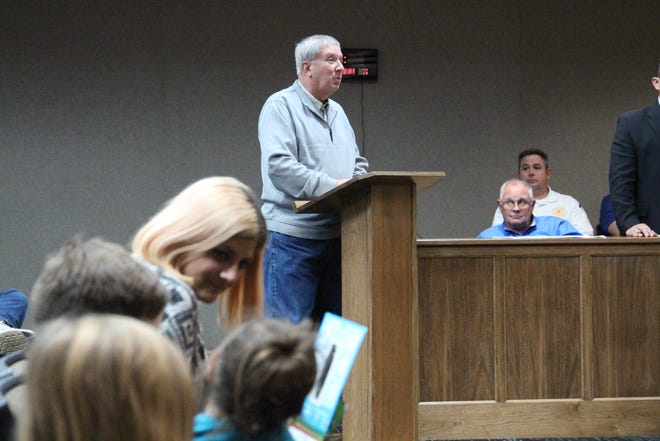 Gary Sims, president of Sims Brothers Recycling, speaks Tuesday before Marion City Council, which will decide whether to pay the fees to continue curbside recycling.