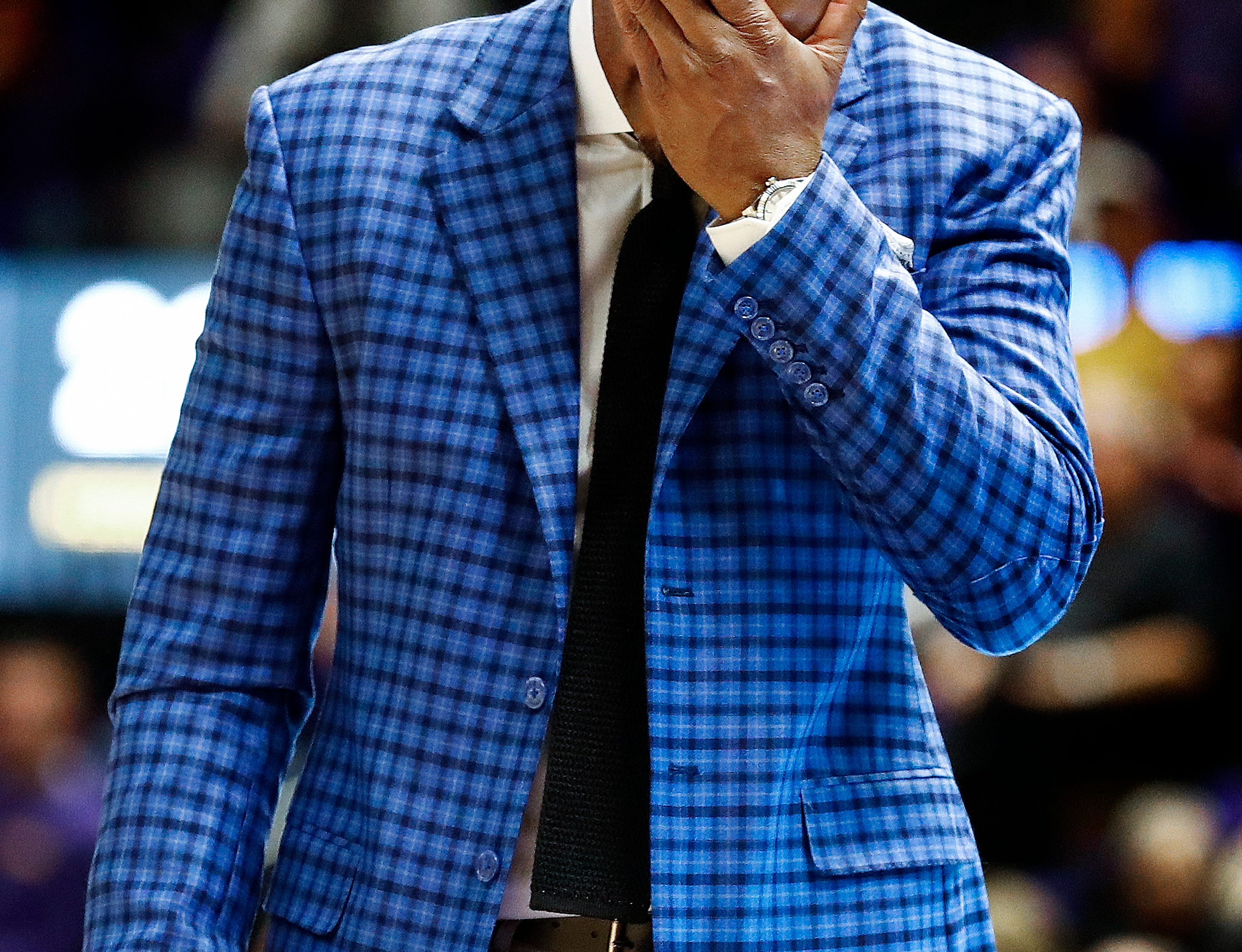 Memphis head coach walks the sideline during a the final minutes of a 85-76 loss to LSU in Baton Rouge, La., Tuesday, November 13, 2018.