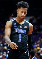 Memphis guard Tyler Harris had a team-high 20 points in an 85-76 loss to LSU on Tuesday.