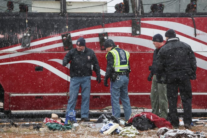 A tour bus has flipped on its side in DeSoto County at I-269 and Route 78, causing multiple injuries in winter conditions Wednesday afternoon.