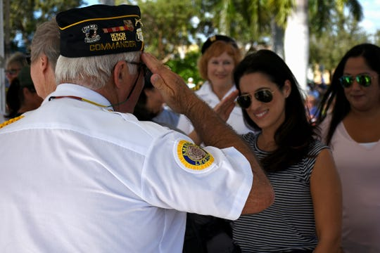 Lee Rubenstein delivers proclamations, jeweled flag pins and a salute to female veterans. Marco Island honored veterans, in particular female veterans, in Veterans Community Park for Veterans Day, at 11 a.m. Monday, Nov. 12.