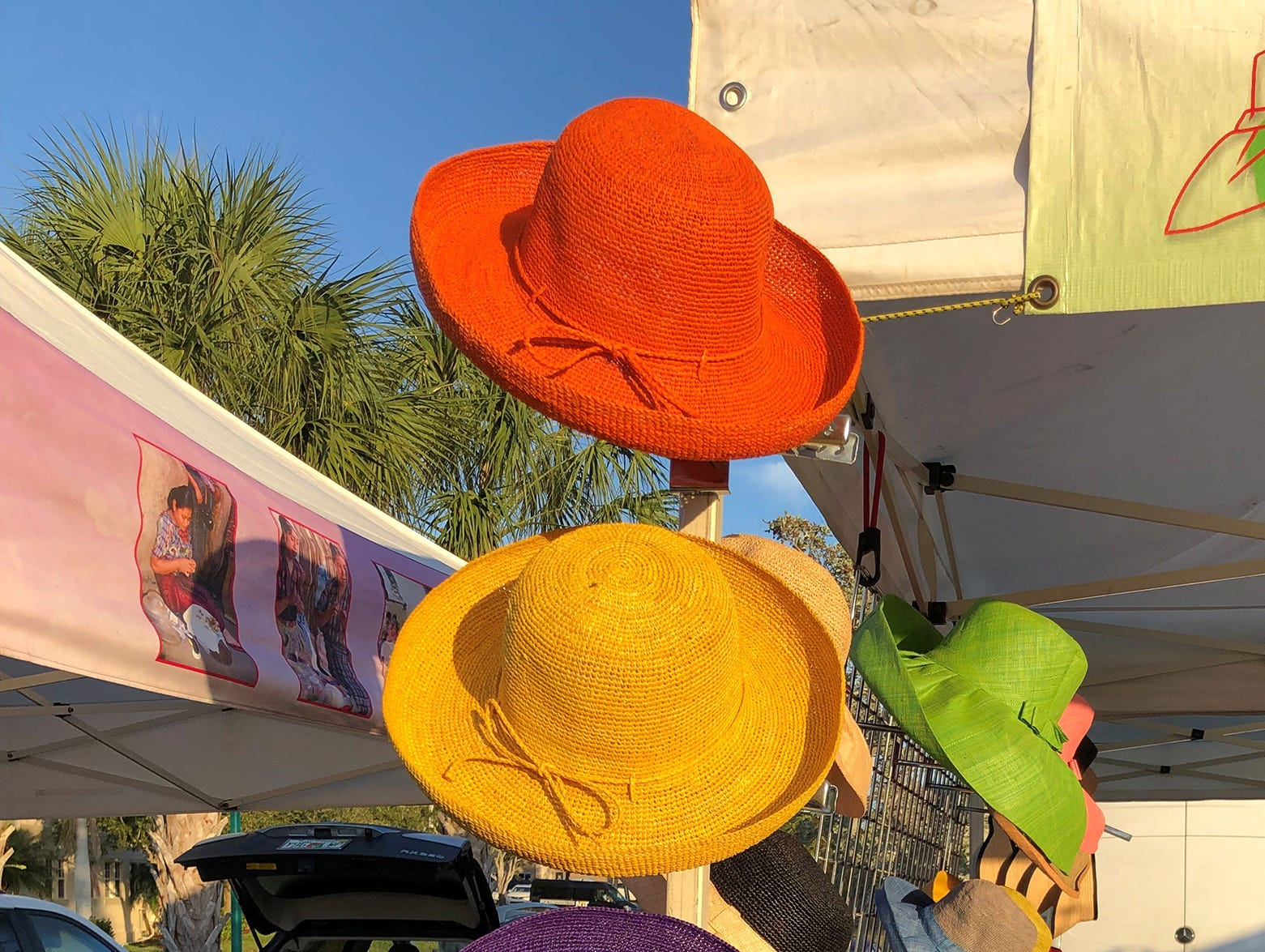 There were hats of many colors on display during opening day for the Marco Island Farmers Market at Veterans Community Park.