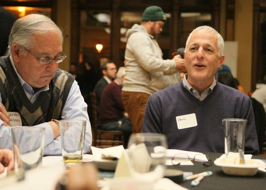 "In this 2018 photo, participants in the ""Across the Red & Blue Divide"" event at Best Place at the Historic Pabst Brewery discussed ways that the two main political parties could work together at the state level in the wake of the midterm elections. That event was co-sponsored by the Ideas Lab, WUWM, Zeidler and Millennial Action Project."