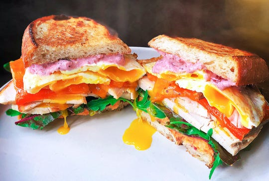 This leftovers sandwich, created by Hadley and Jacob Shully, could easily serve two.
