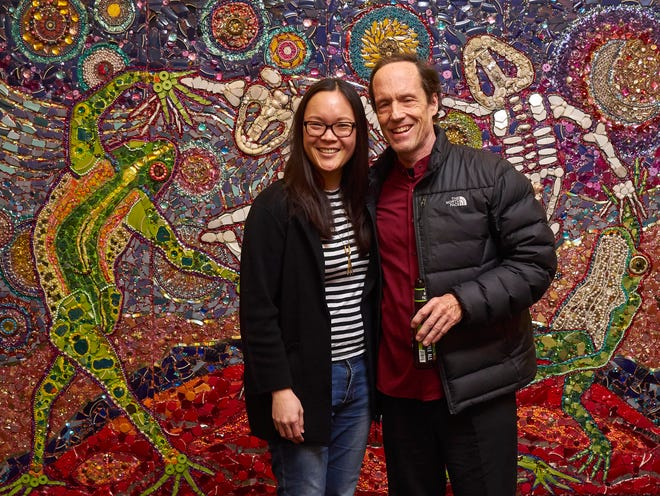 2018: Present Music artistic director Kevin Stalheim poses for a photobooth image with former Present Music general manager Christine Liu following a concert.