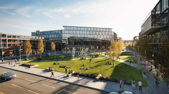 The proposed West Quarter development, which would include new office buildings and a small park, is seeking up to $21.5 million in financing from the City of West Allis.