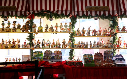 Several holiday items are on display at the Kathe Wohlfahrt booth at the Christkindlmarket.