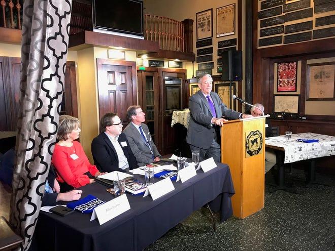 Former Wisconsin Gov. Tommy Thompson addresses the Milwaukee Press Club on Wednesday, Nov. 14, 2018.