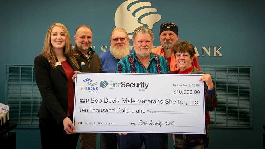 First Security Bank and FHLB Dallas awarded $10,000 in Partnership Grant Program funds to Bob Davis Male Veterans Shelter to help with business operations as the veterans shelter undergoes renovations.
