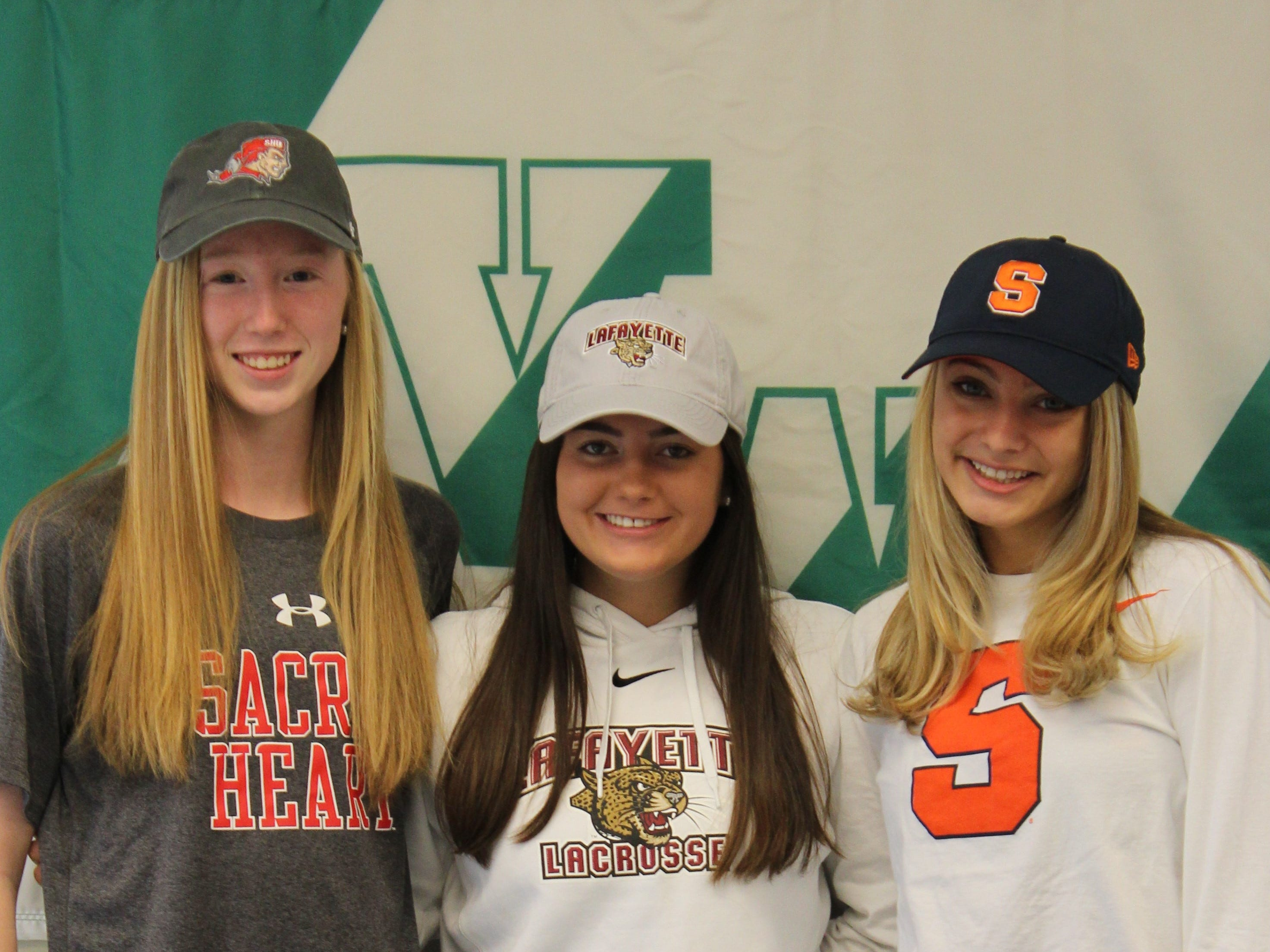 Villa Walsh seniors Meghan Sharkey (soccer), Maddie Colledge (lacrosse) and Gianna Villoresi (soccer) signed National Letters of Intent on Wednesday.