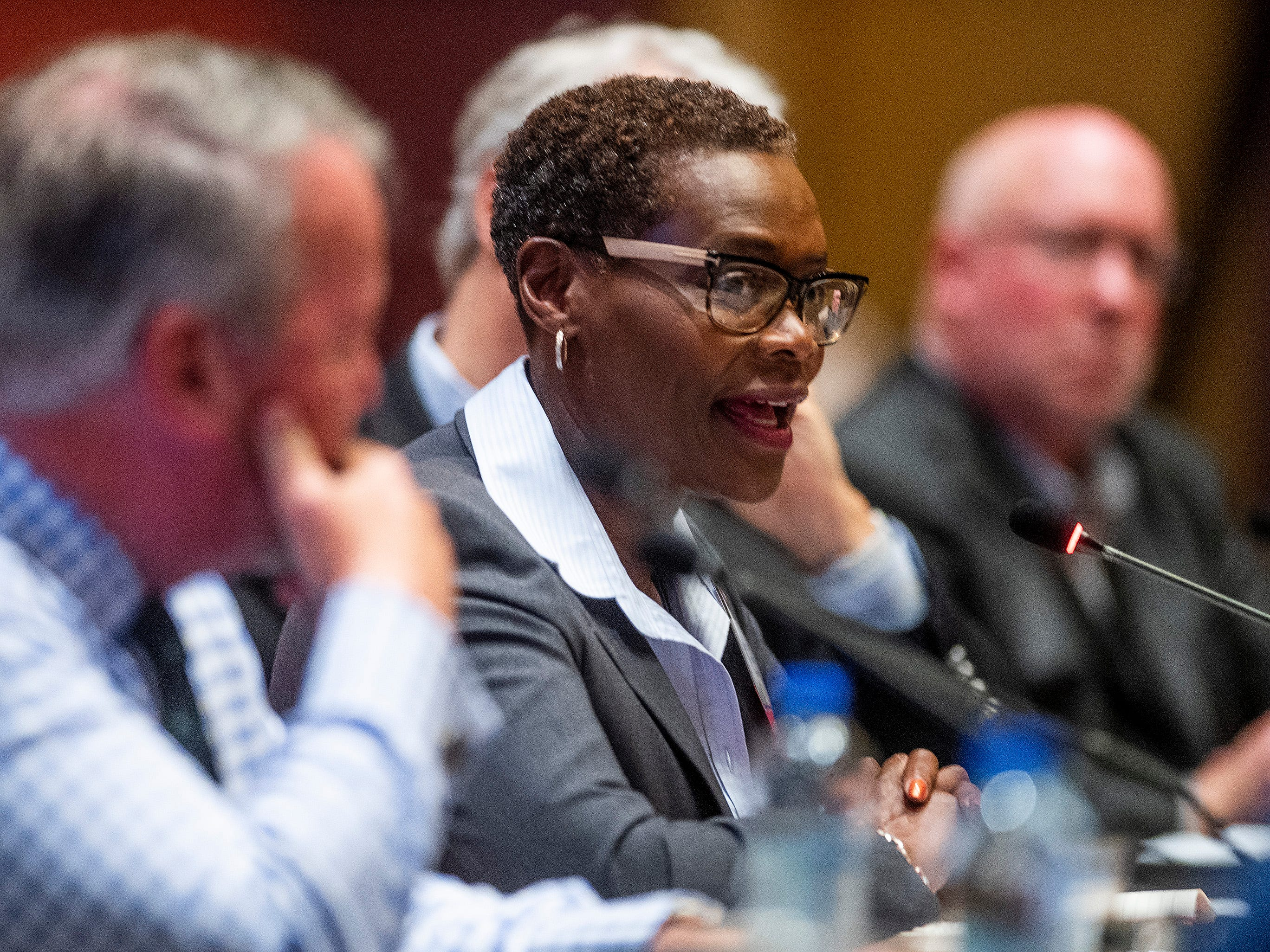 Mayor Elizabeth Carr-Hurst, of Fairborn, Ga., speaks during a summit of the U.S. Conference of Mayors in Montgomery, Ala., on Wednesday November 14, 2018 to address extremism, bigotry and divisiveness.