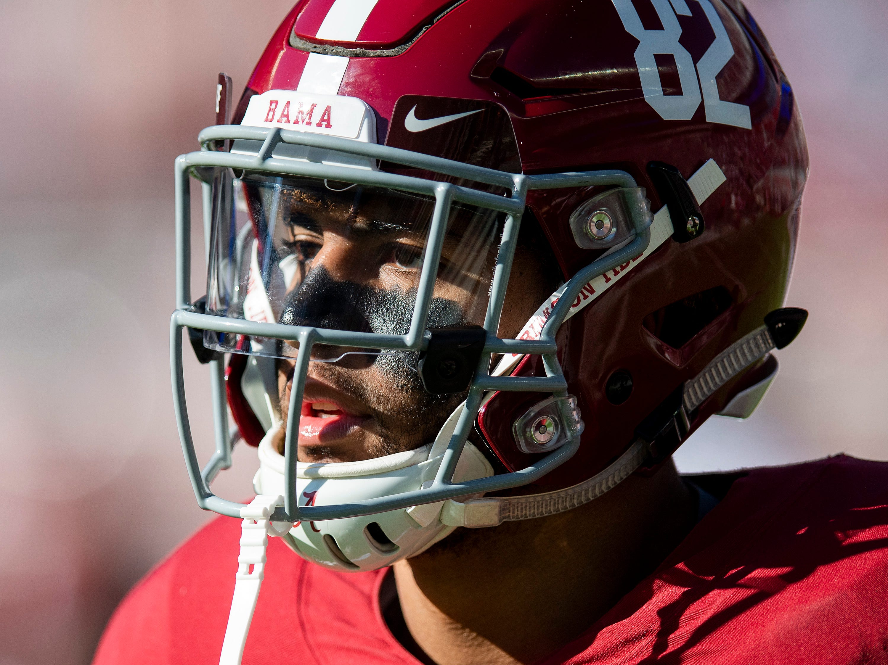Alabama tight end Irv Smith Jr. (82) before the Alabama vs. Mississippi State game at Bryant Denny stadium in Tuscaloosa, Ala., on Saturday November 9, 2018.