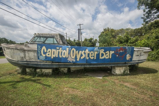 The boat sign marks the way to Lewis Mashburn's Capitol Oyster Bar at 617 Shady St. in Montgomery.