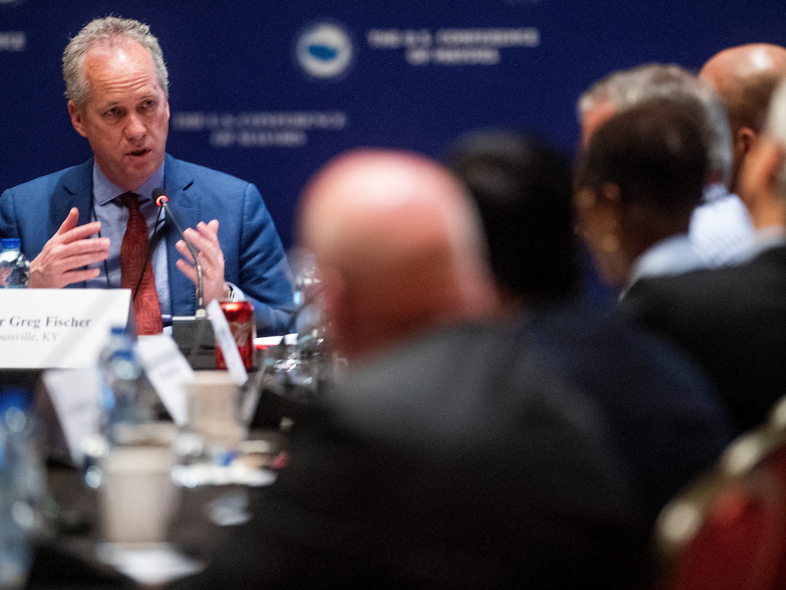 Mayor Greg Fischer, of Louisville, Ky., speaks during a summit of the U.S. Conference of Mayors in Montgomery, Ala., on Wednesday November 14, 2018 to address extremism, bigotry and divisiveness.