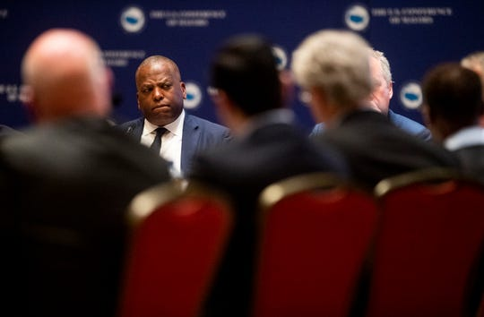 Columbia, South Carolina Mayor Steve Benjamin looks on during a summit of the U.S. Conference of Mayors in Montgomery, Ala., on Wednesday November 14, 2018 to address extremism, bigotry and divisiveness. Benjamin President of the U.S.Conference on Mayors.