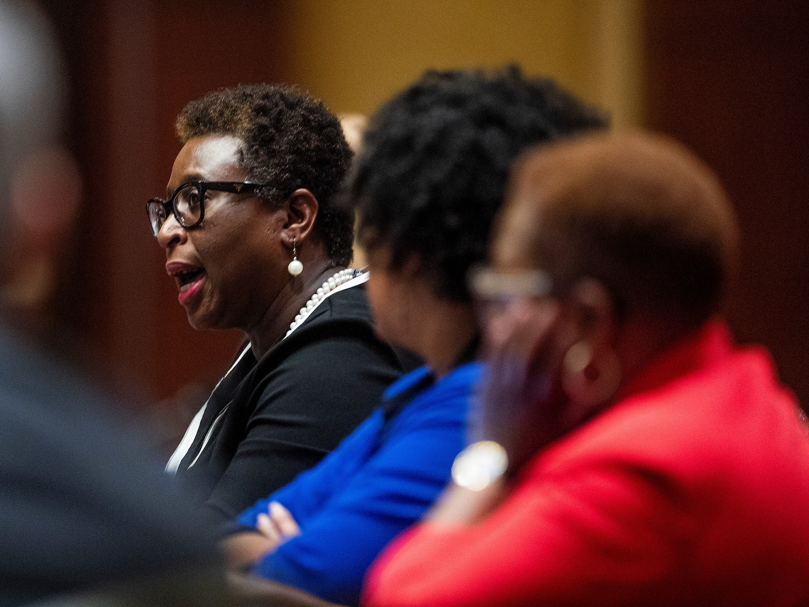 Mayor Yvonne Spicer of Framingham, Ma., speaks during a summit of the U.S. Conference of Mayors in Montgomery, Ala., on Wednesday November 14, 2018 to address extremism, bigotry and divisiveness.