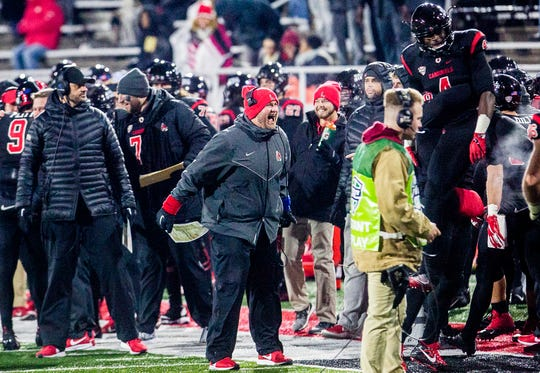 Ball State coach Kyle DeVan, center, during the game against Western Michigan at Scheumann Stadium Tuesday, Nov. 13, 2018.