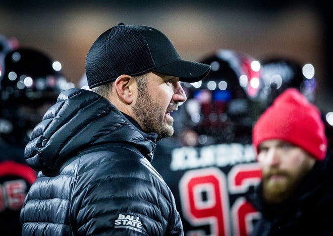 Ball State coach Mike Neu during the game against Western Michigan at Scheumann Stadium Tuesday, Nov. 13, 2018.