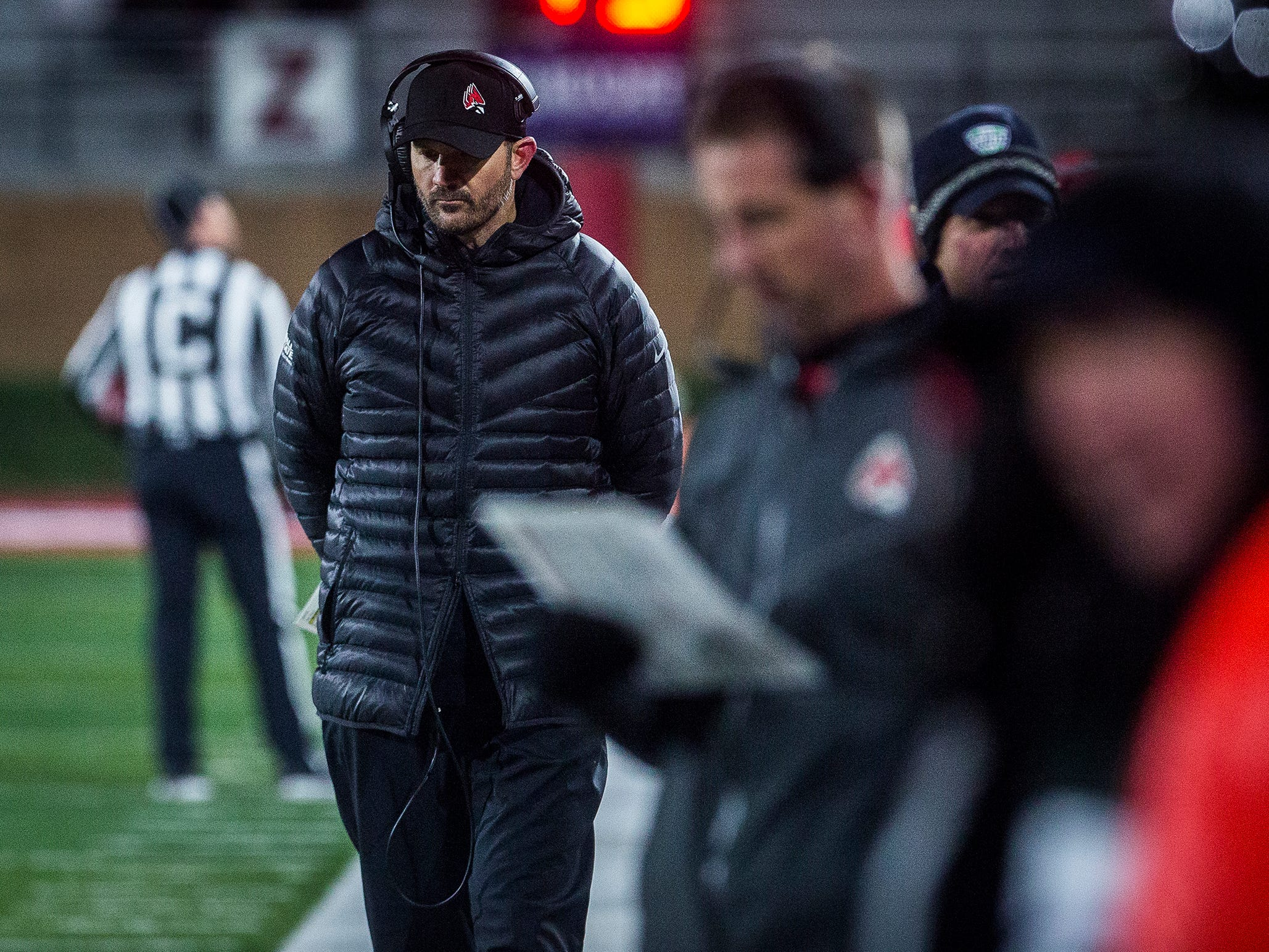Ball State's Mike Neu walks the sideline during the game against Western Michigan at Scheumann Stadium Tuesday, Nov. 13, 2018.