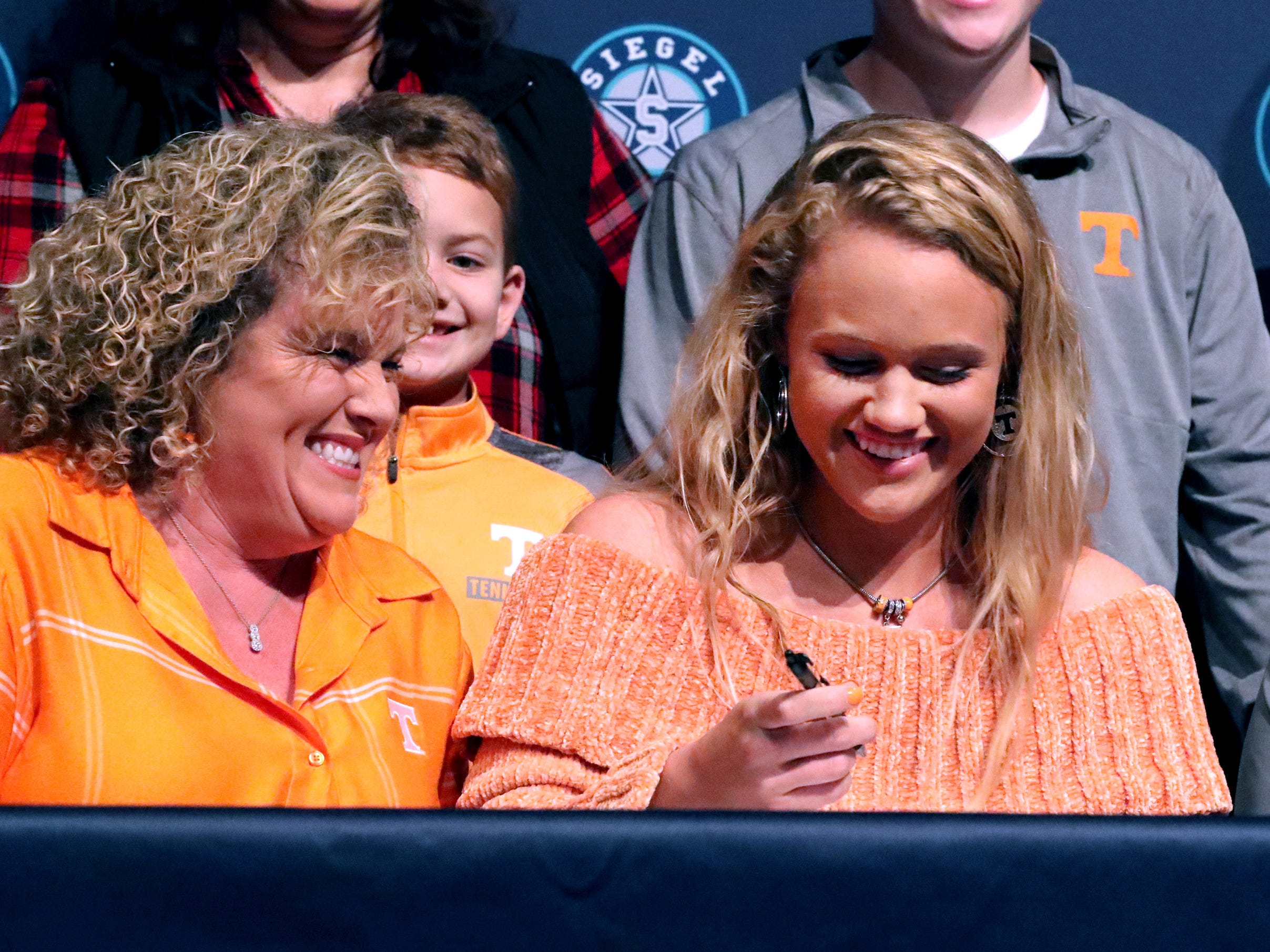 Siegel softball player, Caitlyn McCrary signed a national letter of intent to play college softball at the University of Tennessee, on Wednesday, Nov. 14, 2018.
