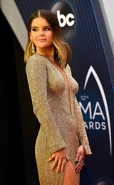 Maren Morris and her husband Ryan Hurd stop on the CMA Awards red carpet to talk to the Tennessean's Cindy Watts and Dave Paulson.