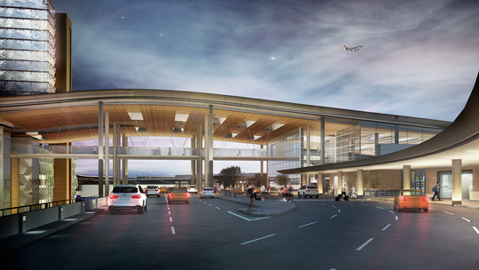 A new canopy and pedestrian bridge will connect the Nashville International Airport's terminal to parking facilities.