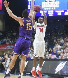 Belmont's Nick Hopkins (14) from Fayetteville and Lipscomb's Andrew Fleming (15) from Ensworth are two of the local players who will be in action Thursday when the Bruins visit the Bisons.