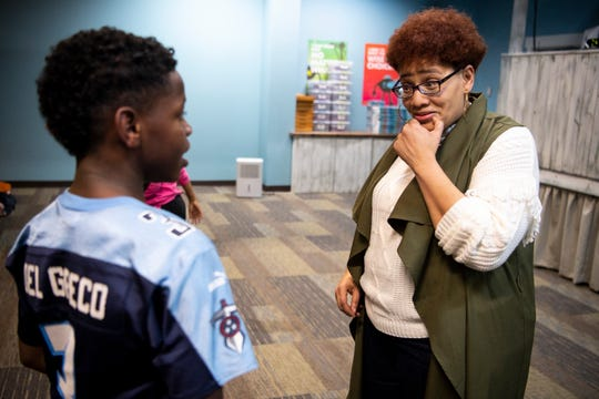 Karen Brockington speaks with Travon Murry, 11, during a Franktown class at Grace Chapel Church in Franklin, Tenn., Tuesday, Nov. 13, 2018. Franktown Open Hearts is a non-profit serving Williamson County's inner-city youth offering academic assistance, mentoring, recreation and spiritual growth.