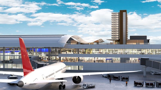 A rendering of the new international arrivals facility at the Nashville International Airport, part of the $1.2 billion BNA Vision plan.