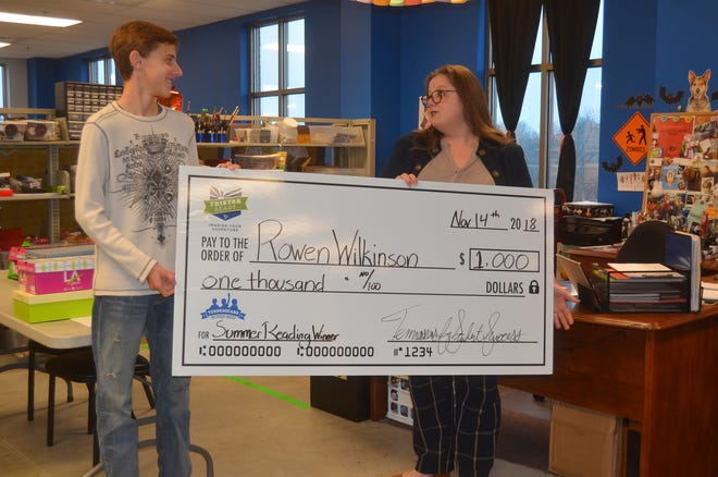 Gallatin eighth grade student Rowen Wilkinson received a $1,000 scholarship from Tennesseans for Student Success for reading the most in the state in his age group this summer.