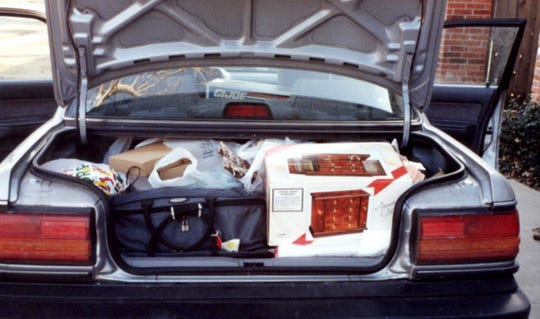 Jacci Rodgers and Marcia Thorpe pack the trunk after shopping Mall of America on Black Friday.