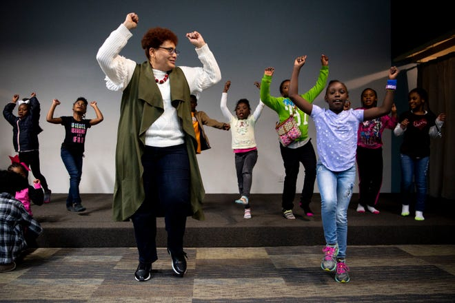 Karen Brockington, left, dances with Azaria Johnson, right 8, and other students during a Franktown class at Grace Chapel Church in Franklin, Tenn., Tuesday, Nov. 13, 2018. Franktown Open Hearts is a non-profit serving Williamson County's inner-city youth offering academic assistance, mentoring, recreation and spiritual growth.