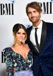 Maren Morris and her husband, Ryan Hurd, walk the red carpet at BMI's 2018 Country Music Awards on Nov. 13.
