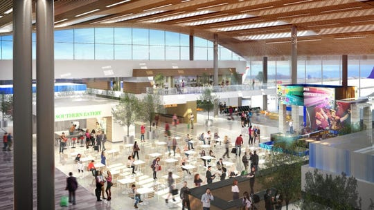 A rendering shows the interior of the revamped Nashville International Airport terminal, part of the $1.2B BNA Vision plan.