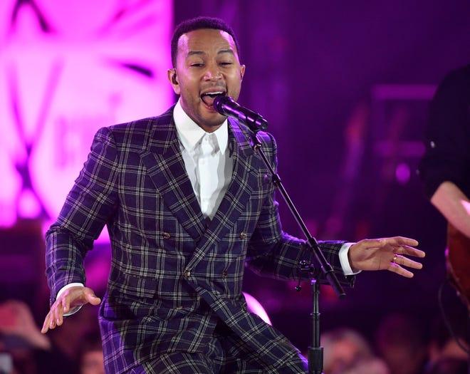"John Legend performs ""The Dock of the Bay,"" written by 2018 BMI Icon Award winner Steve Cropper and Otis Redding at BMI's 2018 Country Music Awards Tuesday Nov. 13, 2018, in Nashville, Tenn."